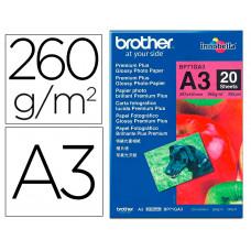 PAPEL FOTO BROTHER BRILLANTE A3 260G/M2 PAQUETE 20 HOJAS