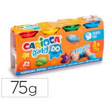 PASTA DE MODELAR CARIOCA BABY DOUGH BOTE 75 G SET DE 8 COLORES SURTIDOS
