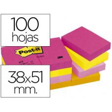 BLOC DE NOTAS ADHESIVAS QUITA Y PON POST-IT 38X51 MM NEON PACK DE 12 BLOCS SURTIDO