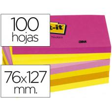 BLOC DE NOTAS ADHESIVAS QUITA Y PON POST-IT 76X127 MM NEON PACK DE 6 BLOCS SURTIDO