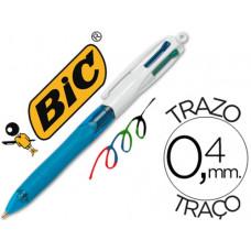 BOLIGRAFO BIC CUATRO COLORES CON GRIP DE CAUCHO ERGONOMICO PUNTA MEDIA 1MM