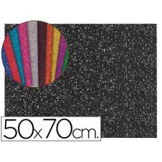 GOMA EVA CON PURPURINA LIDERPAPEL 50X70CM 60G/M2 ESPESOR 2MM NEGRO