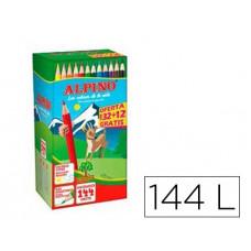LAPICES DE COLORES ALPINO SCHOOL PACK DE 132 + 12 UNIDADES OBSEQUIO COLORES SURTIDOS