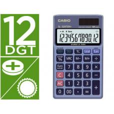 CALCULADORA CASIO SL-320TER BOLSILLO 12 DIGITOS TAX +/- CONVERSION MONEDA TECLA DOBLE CERO COLOR AZUL