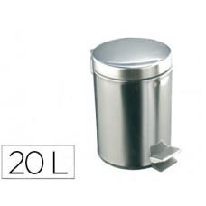 PAPELERA CON PEDAL ACERO INOXIDABLE BRILLO 20 L 435X295X350 MM