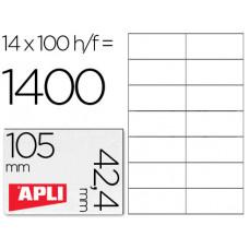 ETIQUETA ADHESIVA APLI 1277 TAMAÑO 105X42.4 MM -FOTOCOPIADORA -LASER E INKJET-CAJA CON 1400 ETIQUETAS
