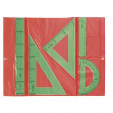 Juego escuadra, cartabón, regla Safta Color Verde  (941001)