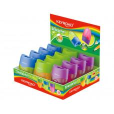 Sacapuntas Keyroad plástico con depósito dos usos Safta  (Ref. KR971687)